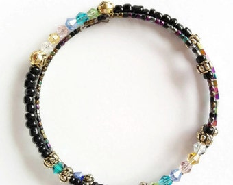 Black and gold beaded bangle, black rainbow bracelet, dark rainbow bangle, beaded bangle, black rainbow jewelry