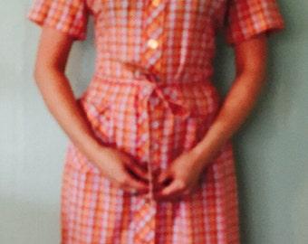 1960s Vintage Shirtdress/Red,Orange,Light Blue