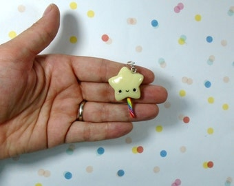 Glow in the Dark Rainbow Star Magic Wand Polymer Clay Charm Miniature Jewelry