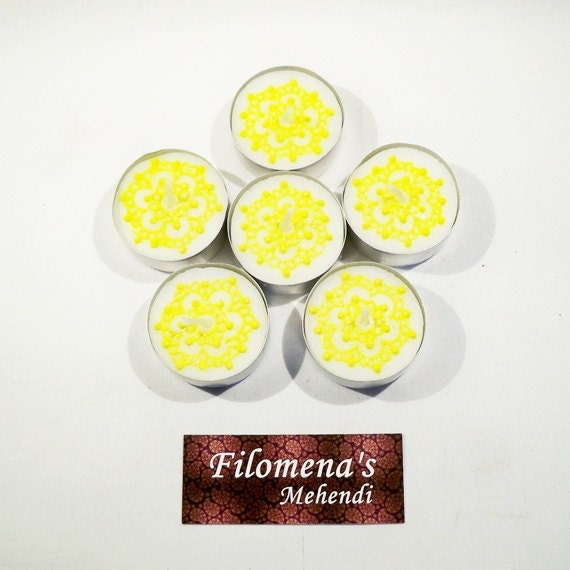 Yellow tealights Country home decor White and yellow Yellow