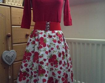 Full circle, retro vintage style, handmade swing skirt with red roses, rock n roll, reenactment, fifties, rockabilly, custom made skirt