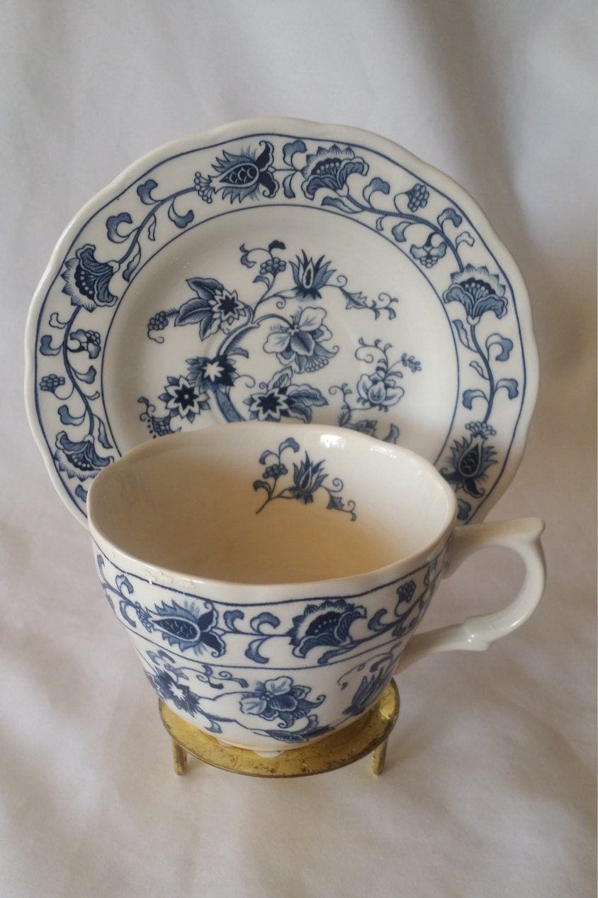 Teacup And Saucer Set Blue And White Nikko Ironstone