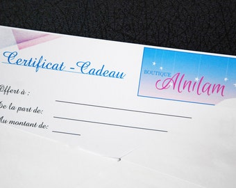 Gift certificate, 15 to 50 dollars, gift, shop it certificate