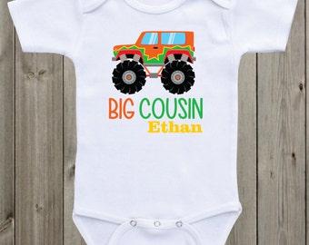 Big cousin Monster truck baby onesie Big Cousin Onesie Big Cousin Shirt Sibling Shirt Big brother Shirt Baby Shower Gift Pregnancy Announce