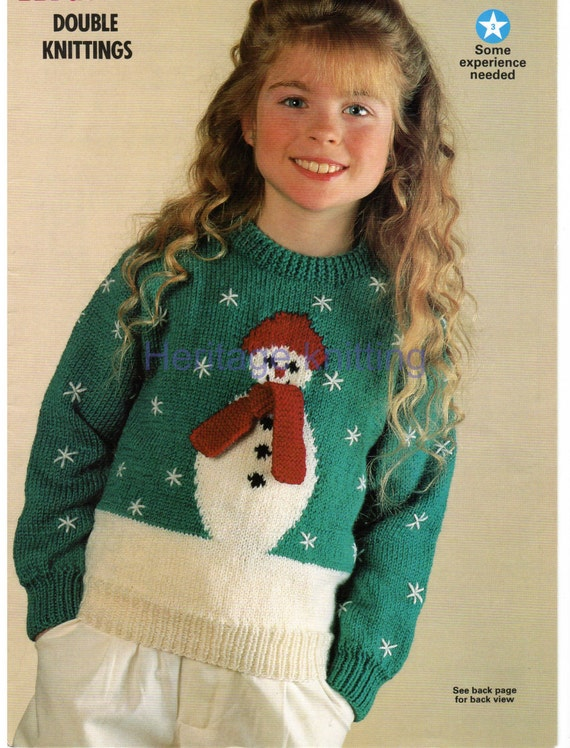 Knitting Patterns For Children s Christmas Jumpers : boys girls childrens christmas snowman jumper dk knitting