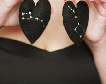 Two hearts - one love, Decorative heart, Constellation. ursa major , ursa minor