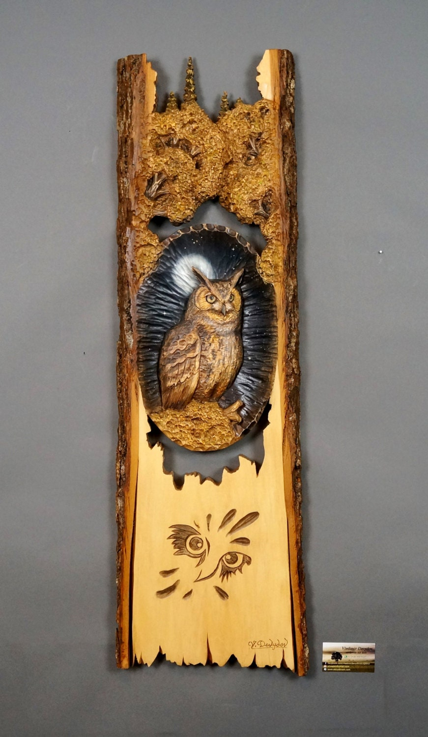 Wooden gift owl carved wood carving wall art bird
