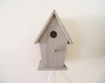 Bird House Night Light, Nursery Lamp, Room Light,  Rustic Light House