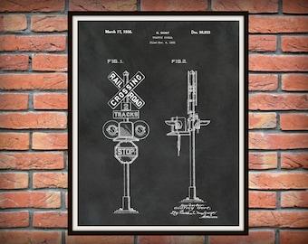 Patent 1936 Railroad Signal - Art Print  - Locomotive Art - Train Crossing Sign - Railway Station Art - Railway Signal - Railroad Wall Art