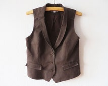 Brown Striped Womens Vest Classic Tuxedo Collar Waistcoat Steampunk Edwardian Victorian Formal Wear Size Medium To Large
