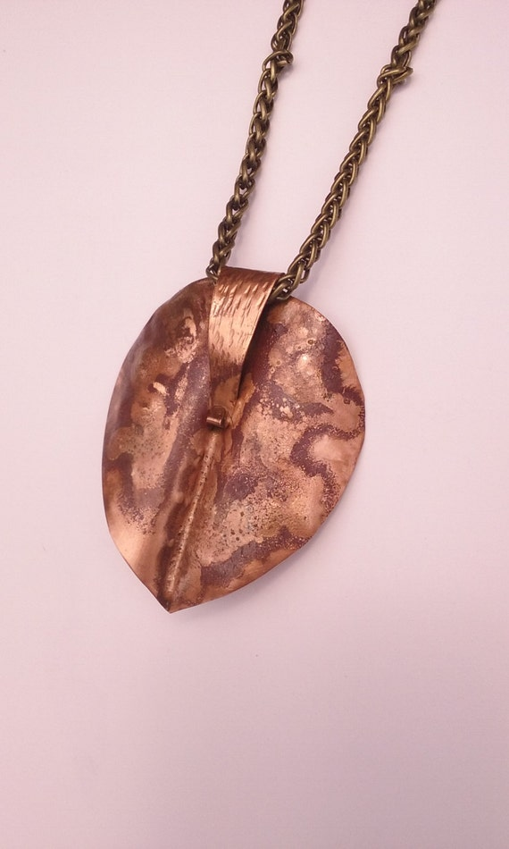 Copper Pendant Brass Hand Made Leaf Necklace 2.5 x 2.25 inch