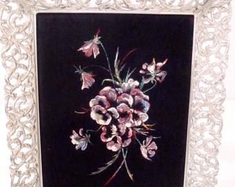 Vintage Velvet Flower Painting in Ornate Metal Frame