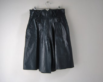 Vintage High Waisted Leather Shorts / Cutlottes In Super Soft Black Leather