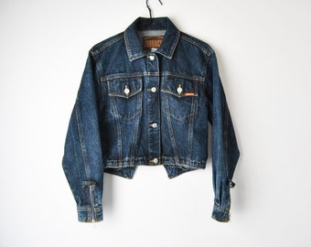 80s Jordache Stone Wash Denim Cropped Jean Jacket With Zipper and Bow Details