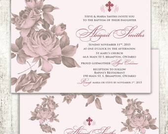 Antique Rose Baptism Christening Confirmation Religious Invitation // Pink Rose // Cross // Baby Girl // PRINTED Invites