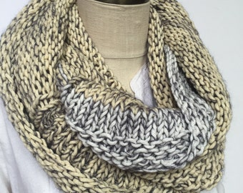 Chunky hand knit infinity in white, grey and ivory