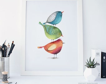Watercolour Birds Print, Printable Wall Art, Modern Wall Print, Instant Download, Home Decor