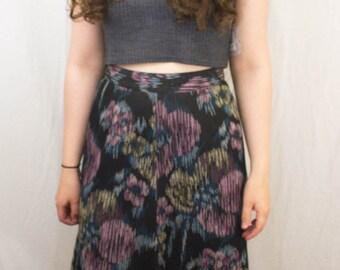 Black Maxi skirt Rainbow Pattern 1970s