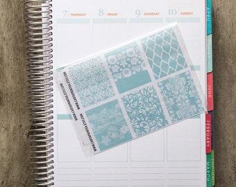 9 full box sticker, pink lace square sticker, planner stickers, scrapbook reminder, geometric floral mint