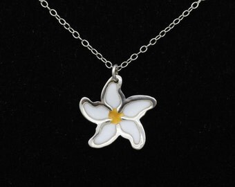 Delicate Daisy - Enamelled Sterling Silver Necklace