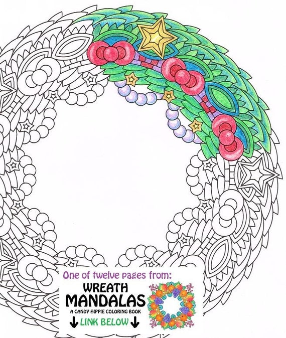 items similar to christmas mandala coloring page bangly wreath printable wreath coloring. Black Bedroom Furniture Sets. Home Design Ideas
