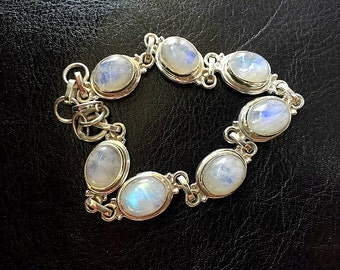 Rainbow Moonstone Bracelet - Sterling Silver Bracelet - Gemstone Bracelet - Genuine Moonstone Jewelry - Silver Moonstone Crystal Bracelet