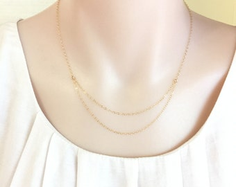 Delicate Double Chains Necklace, Gold Chain Necklace, Silver Chain Necklace, Minimalist Chain Necklace, Dainty Chain, Layering Necklace