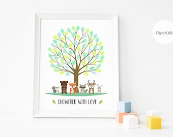 Woodland animals Fingerprint guestbook - Forest Thumbprint guestbook - Baby shower - Birthday gift - Digital file printable - DIY