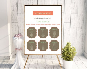 Pastel table plan, Wedding table plan, wedding seating plan, print your own table plan, table settings, spring wedding table plan.