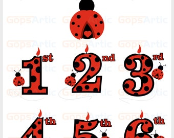 Ladybug plus numbers-SVG,DXF,PNG Files