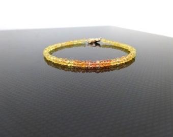 Dainty Yellow Sapphire Bracelet, Beaded gemstone bracelet, Genuine Sapphire, Personalized Sterling Silver, Sapphire bracelet