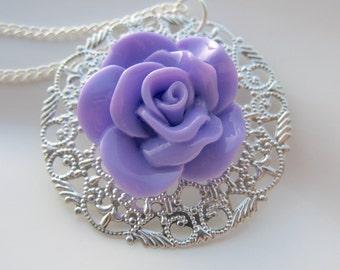 Purple Flower Necklace, Rose Necklace, Flower Necklace, Purple Roses, Flower Jewelry, Mother's Day Gift