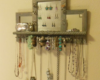 You Pick The Stain, Mesh Colors, Deluxe  Mini Jewelry Organizer with Mirrors, Jewelry Storage, Wall Mounted Jewelry