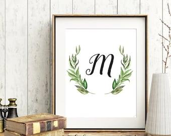 Printable Monogram, Wall Art Monogram, Initial Print, Letter M, Home Decor, calligraphy, Nursery Wall Art Decor, 8x10, DIGITAL FILE, M01