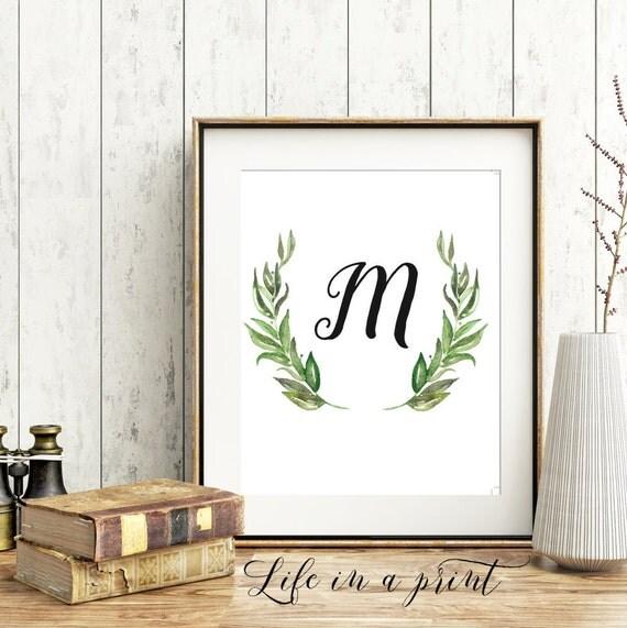 Printable monogram wall art monogram initial print letter for Letter m home decor