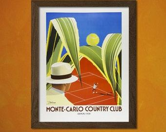 Monte Carlo Print - Vintage Travel Poster Retro Monte Carlo Poster Tennis Poster Vintage Sport Poster Monaco  t