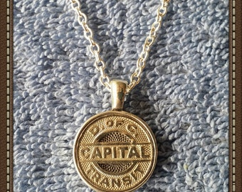 Handcrafted Washington D. C. Transit Token Pendant Necklace