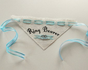 Dog Ring Bearer Burlap Wedding Bandana, Pet Wedding Accessory