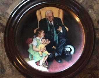 Norman Rockwell Decorative Plate/ Framed Norman Rockwell Collector Plate Tender Loving Care