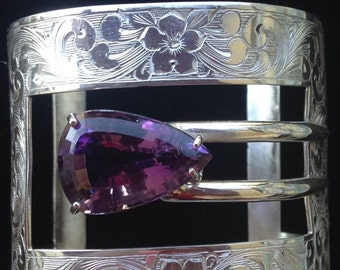 Sterling Silver victorian cuff bracelet with 20 ct pear amethyst. Hand Made.