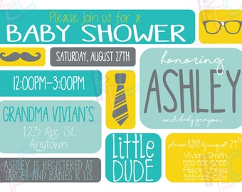 """Little Dude 5""""x7"""" Baby Shower Invitation {Digital File Only}"""