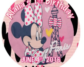 Minnie Mouse Paris cupcake toppers Stickers LABELS party favor Instant Download Printable Digital FIle