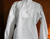 White Fencing Shirt with Buttoned Collar and Cuffs - SCA Rapier Armor