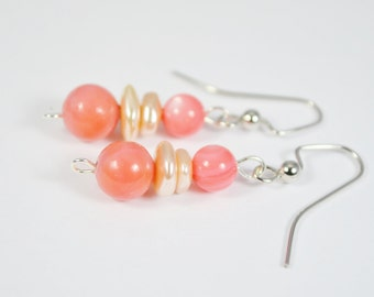 FREE SHIPPING, coral pink earrings, coral earrings, pink coral earrings, coral pearl earrings, pink shell earrings, coral dangle earrings