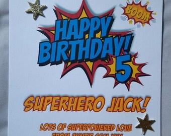 Personalised Handmade Childrens Birthday Card-Superhero