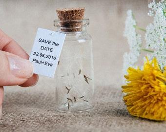 Save the date Dandelion Wedding favors Save the date bottles Wedding invitations Save the date rustic Wedding keepsake Vintage wedding favor