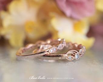 0.52 ct.tw Leaf & Vine Art Deco Half Eternity Band Set Ring-Elegant Stacking Band Set Ring-Rose Gold Plated-Sterling Silver [65222RG-2]