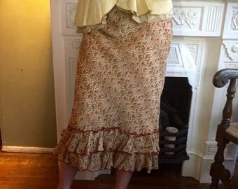 Cheetah & Rose Pattern Ruffled Skirt, Size 8