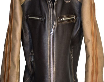 CARRERA Leather Jacket Cafe Racer Striped Motosport Mens Distressed Brown