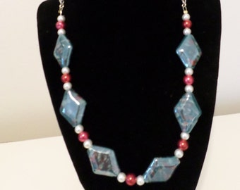 Blue, red and white necklace